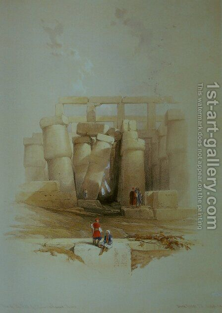 Part of the Hall of Columns at Karnak, seen from without by David Roberts - Reproduction Oil Painting
