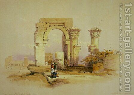 Part of the ruins of a temple on the Island of Bigge, Nubia by David Roberts - Reproduction Oil Painting