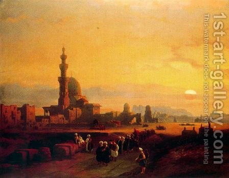 Procession past the Tombs of the Khalifs by David Roberts - Reproduction Oil Painting