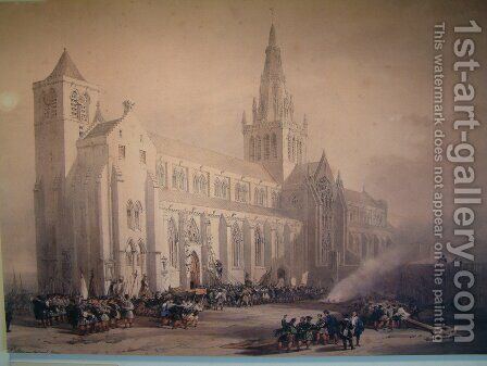 St. Mungo's Cathedral Glasgow by David Roberts - Reproduction Oil Painting
