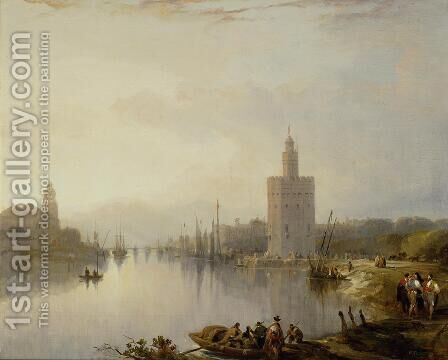 The Guadalquivir and the Golden Tower by David Roberts - Reproduction Oil Painting