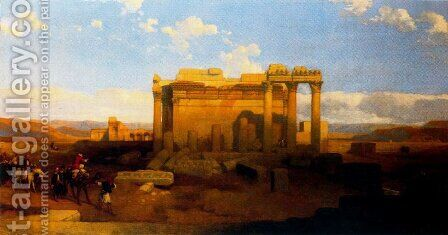 The ruins of the small Temple of Baalbec by David Roberts - Reproduction Oil Painting