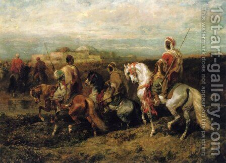 Bedouins Approaching a City by Adolf Schreyer - Reproduction Oil Painting