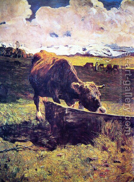Brown cow in the waterhole by Giovanni Segantini - Reproduction Oil Painting