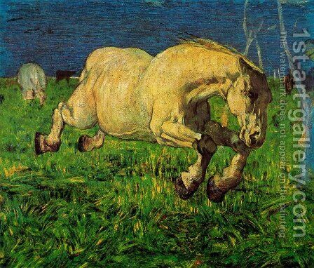 Horse at gallop by Giovanni Segantini - Reproduction Oil Painting