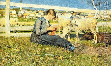 Knitting girl by Giovanni Segantini - Reproduction Oil Painting