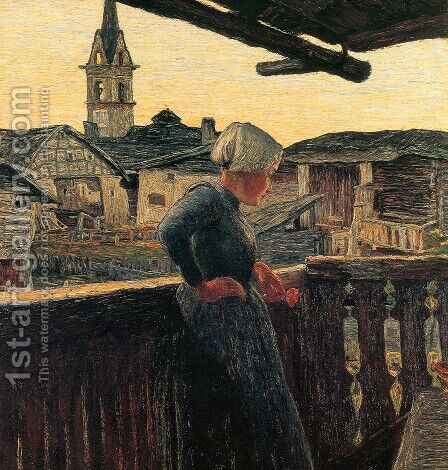 On the balcony (excerpt) by Giovanni Segantini - Reproduction Oil Painting