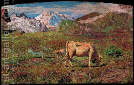 Pascoli Spring (Pascoli Alpine Spring) by Giovanni Segantini - Reproduction Oil Painting