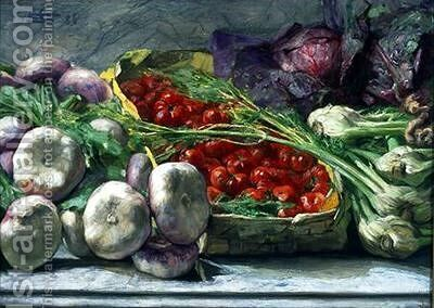 Still Life with Vegetables by Giovanni Segantini - Reproduction Oil Painting