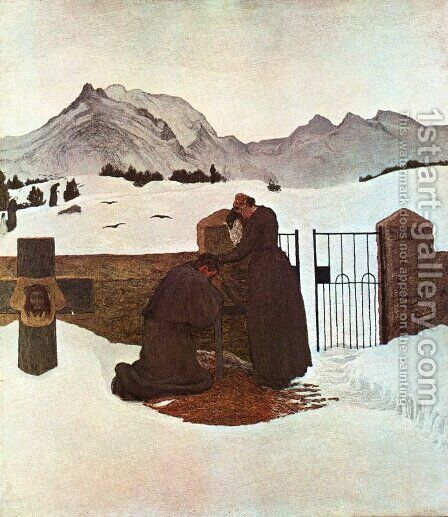 The pain comforted by the Faith (The comfort of the Faith) by Giovanni Segantini - Reproduction Oil Painting