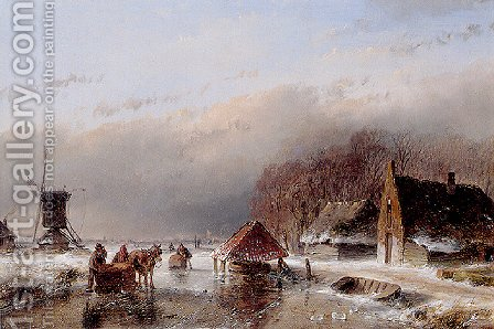A Winter Landscape by Andreas Schelfhout - Reproduction Oil Painting