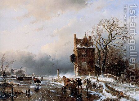 Skaters in Stormy Weather by Andreas Schelfhout - Reproduction Oil Painting