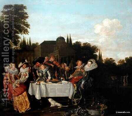 Festin champêtre by Dirck Hals - Reproduction Oil Painting