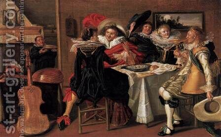 Merry Company at Table by Dirck Hals - Reproduction Oil Painting
