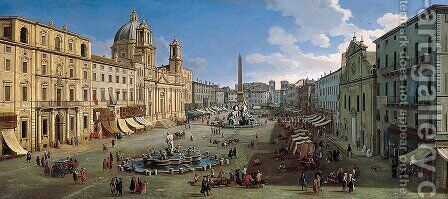 Piazza Navona, Roma by Caspar Andriaans Van Wittel - Reproduction Oil Painting