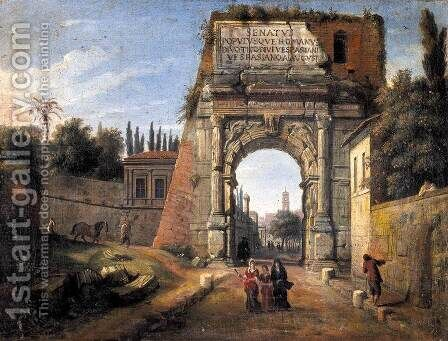 Rome, View of the Arch of Titus by Caspar Andriaans Van Wittel - Reproduction Oil Painting