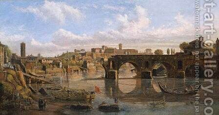 Rome, View of the River Tiber with the Ponte Rotto and the Aventine Hill by Caspar Andriaans Van Wittel - Reproduction Oil Painting