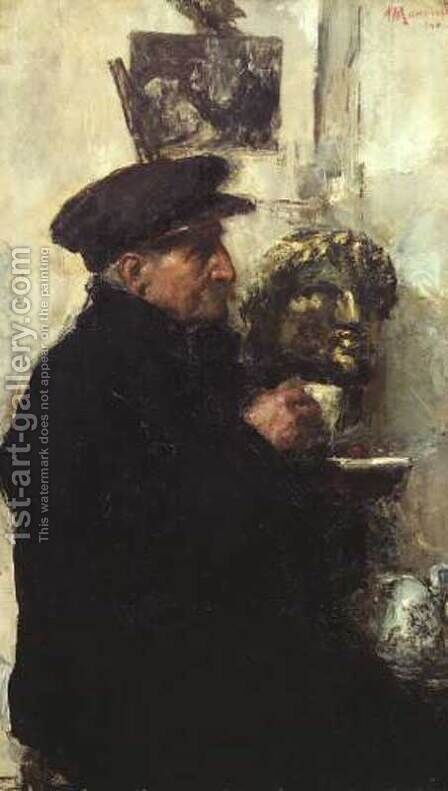 Artist's Father by Antonio Mancini - Reproduction Oil Painting
