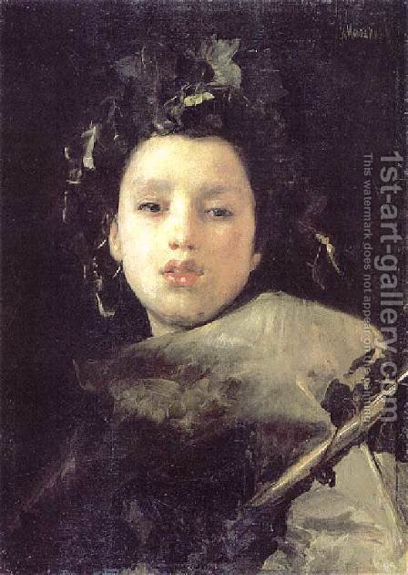 Bacco Fanciullo by Antonio Mancini - Reproduction Oil Painting