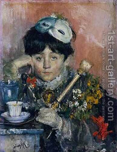 Child with a mask by Antonio Mancini - Reproduction Oil Painting