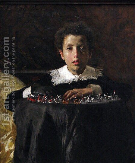 Young Boy with Toy Soldiers by Antonio Mancini - Reproduction Oil Painting
