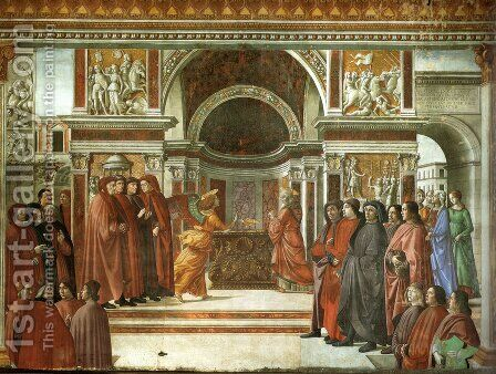 10, the angel's announcement to Zaccaria by Domenico Ghirlandaio - Reproduction Oil Painting