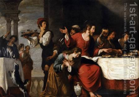 Banquet at the House of Simon (detail 2) by Bernardo Strozzi - Reproduction Oil Painting