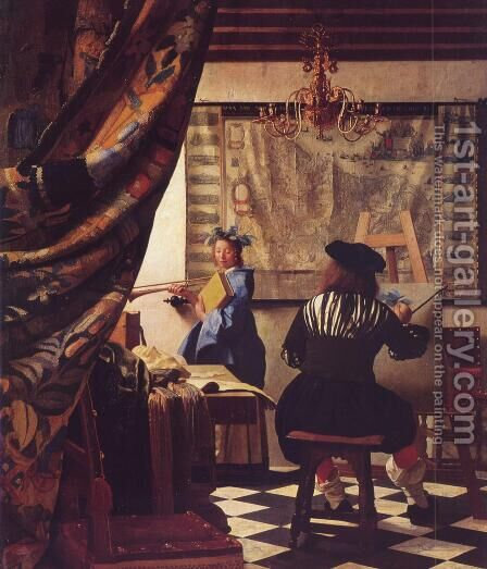Johannes Vermeer of Delft workshop, Allegory of Painting by Eduardo Zamacois y Zabala - Reproduction Oil Painting