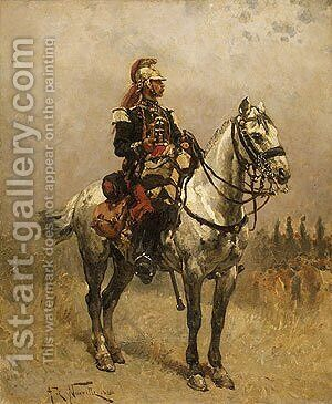 A Cavalryman by Alphonse de Neuville - Reproduction Oil Painting