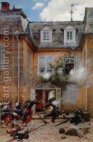 A surprise attack, Metz by Alphonse de Neuville - Reproduction Oil Painting