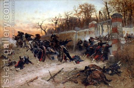 Defence of Longboyau's gate, château of Buzenval, on Octobre 21th 1870 by Alphonse de Neuville - Reproduction Oil Painting