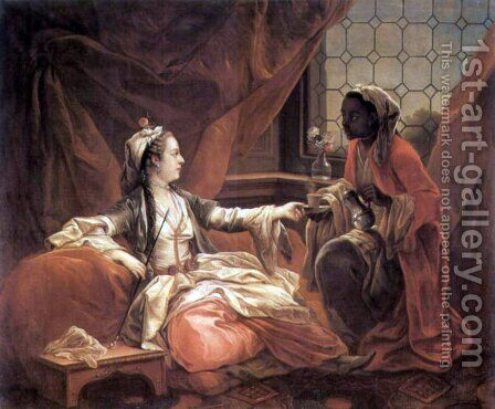 Sultain woman with a cup of coffee over a slave by Carle van Loo - Reproduction Oil Painting