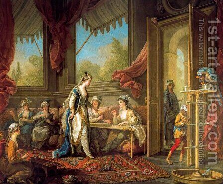 The Sultana Sets Work for the Odalisques by Carle van Loo - Reproduction Oil Painting