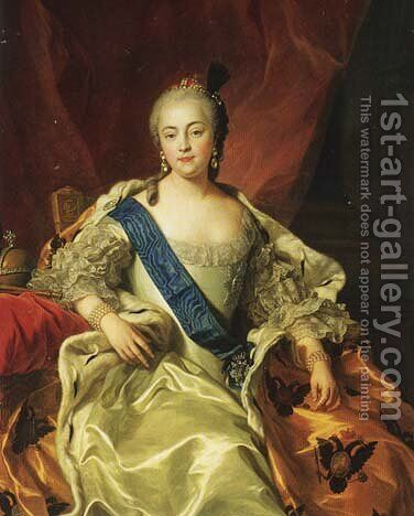 Yelizaveta Petrovna, Empress and Autocrat of all the Russias (1709-62) by Carle van Loo - Reproduction Oil Painting