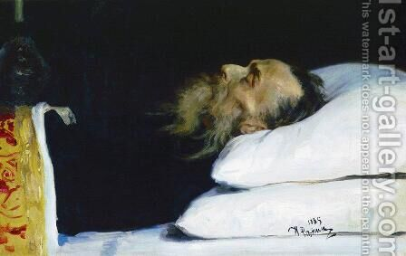 Historian Nikolai Ivanovich Kostomarov in His Coffin by Ilya Efimovich Efimovich Repin - Reproduction Oil Painting
