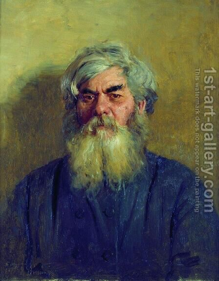 Peasant with an evil eye. Portrait of I. F. Radov, the artist's godfather by Ilya Efimovich Efimovich Repin - Reproduction Oil Painting