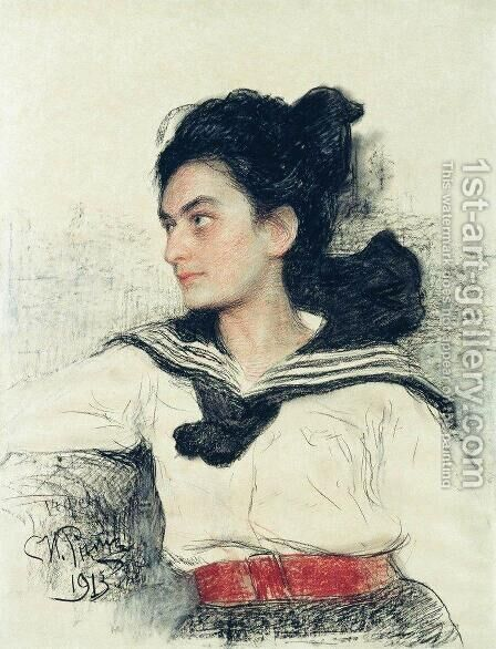 Portrait of Maria Osipovna Lowenfeld, daughter of art collector O. D. Lowenfeld by Ilya Efimovich Efimovich Repin - Reproduction Oil Painting