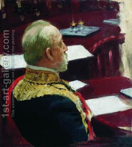 Portrait of Secretary of State, general and member of State Council Mikhail Nikolayevich Galkin-Vraskoi by Ilya Efimovich Efimovich Repin - Reproduction Oil Painting