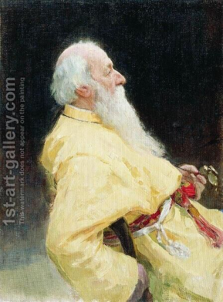 Portrait of Vladimir Vasilievich Stasov, Russian art historian and music critic 2 by Ilya Efimovich Efimovich Repin - Reproduction Oil Painting