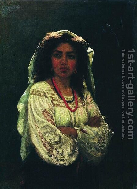 Portrait of an Italian woman by Ilya Efimovich Efimovich Repin - Reproduction Oil Painting
