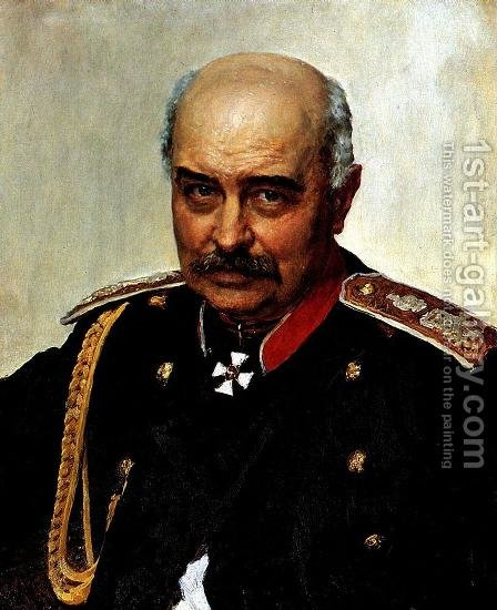Portrait of general and statesman Mikhail Ivanovich Dragomirov by Ilya Efimovich Efimovich Repin - Reproduction Oil Painting