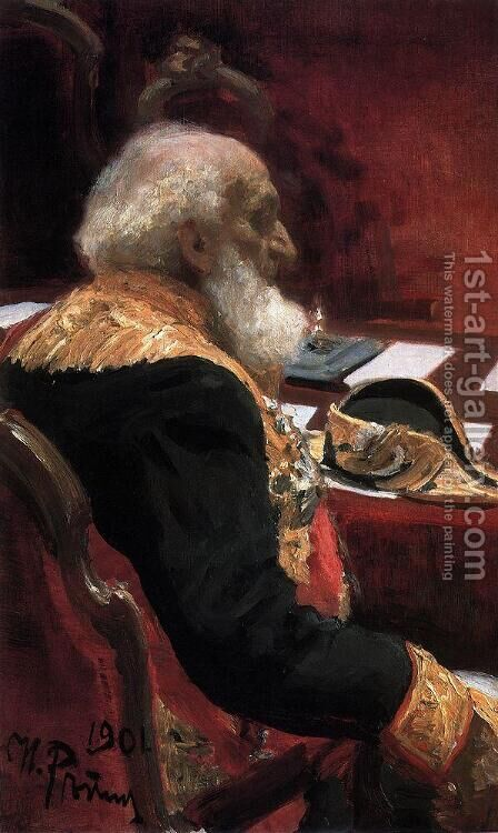 Portrait of geographer, statistician, honorary member of the Academy of Sciences and Academy of Arts and member of by Ilya Efimovich Efimovich Repin - Reproduction Oil Painting