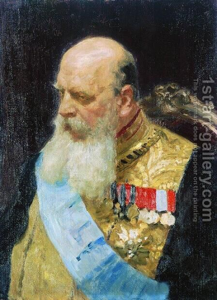 Portrait of member of State Council Count Dmitri Martinovich Solsky by Ilya Efimovich Efimovich Repin - Reproduction Oil Painting