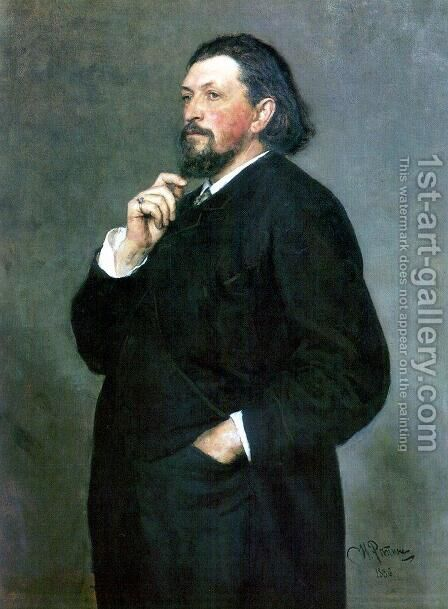 Portrait of music editor and patron Mitrofan Petrovich Belyayev by Ilya Efimovich Efimovich Repin - Reproduction Oil Painting