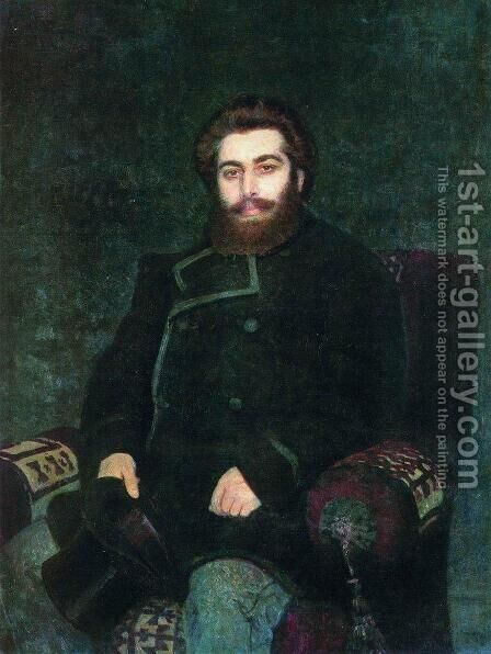 Portrait of painter Arkhip Ivanovich Kuindzhi by Ilya Efimovich Efimovich Repin - Reproduction Oil Painting