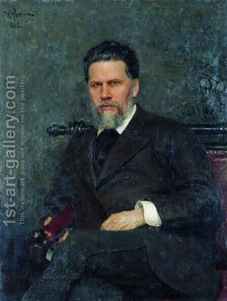 Portrait of painter Ivan Nikolayevich Kramskoi by Ilya Efimovich Efimovich Repin - Reproduction Oil Painting
