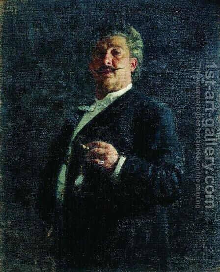 Portrait of painter and sculptor Mikhail Osipovich Mikeshin by Ilya Efimovich Efimovich Repin - Reproduction Oil Painting