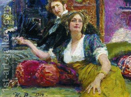 Portrait of poet, prose writer, translator and dramatist Sergei Mitrofanovich Gorodetsky with his wife by Ilya Efimovich Efimovich Repin - Reproduction Oil Painting