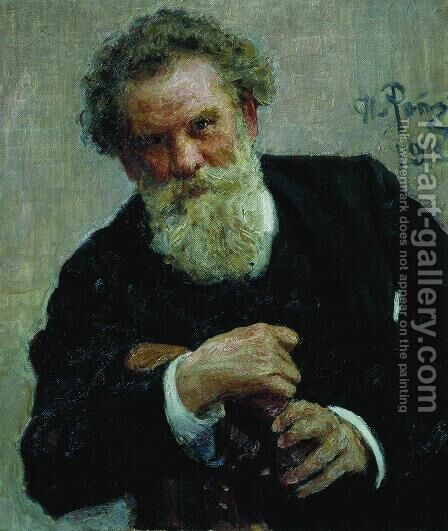 Portrait of writer Vladimir Galaktionovich Korolenko by Ilya Efimovich Efimovich Repin - Reproduction Oil Painting