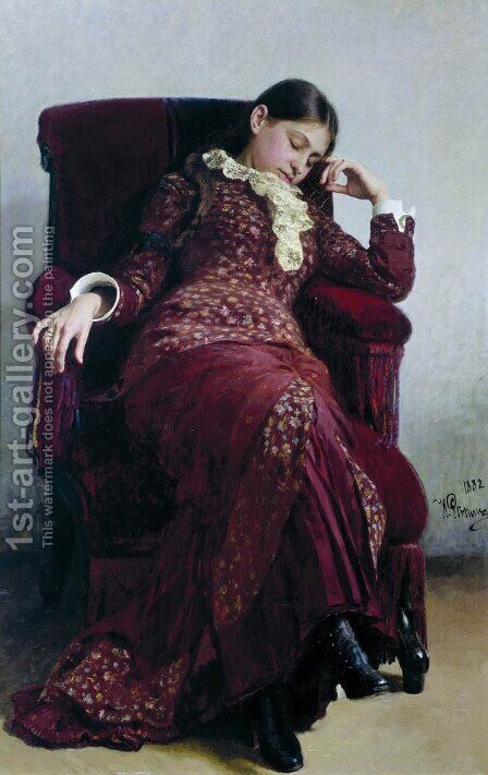 Rest. Portrait of the artist's wife by Ilya Efimovich Efimovich Repin - Reproduction Oil Painting
